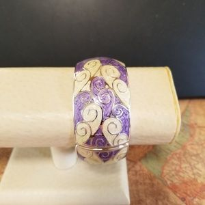 Jewelry - Purple and cream bangle bracelet